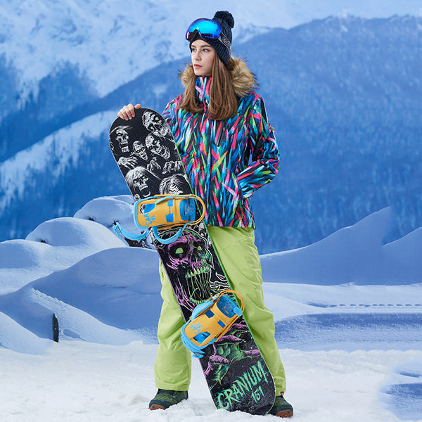 Gsou Snow Brand Women Fur Hooded Snowboard Jacket Skiing Jacket Sale
