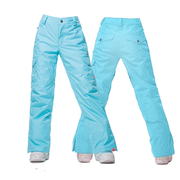 Gsou Snow Sky Blue High Waterproof Windproof Snowboard/Ski Pants For Women Front