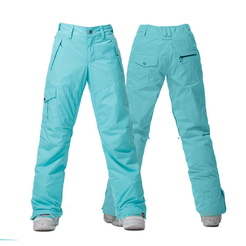 Gsou Snow Thermal Warm High Waterproof Windproof Lake Blue Women's Snowboard/Ski Pants Front Back