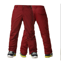 Gsou Snow Windproof Waterproof Men's Red Snowboard Ski Pants Front Back