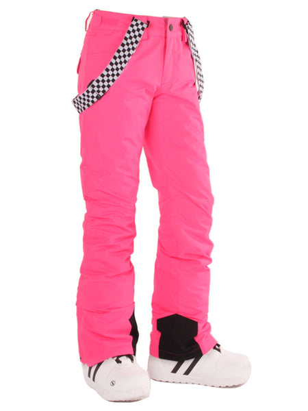 Gsou Snow Highland Bib Snowboard & Ski Pink Pants For Women