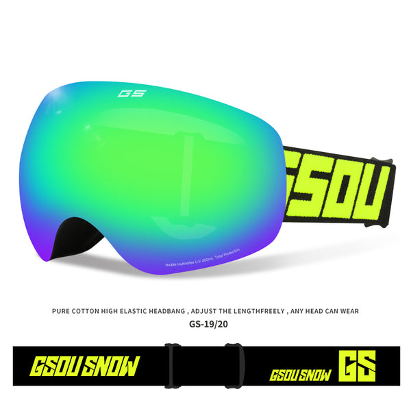 Gsou Snow Ski Snowboard Goggles UV Protection Smooth Air-flow Panoramic View Adjustable Strap