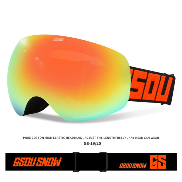 Gsou Snow Winter Snow Sports Goggles with Anti-fog UV Protection Interchangeable Spherical Dual Lens