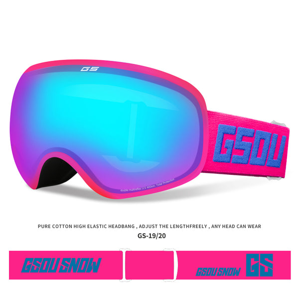 Gsou Snow Ski Goggles - Over Glasses Ski / Snowboard Goggles- 100% UV Protection