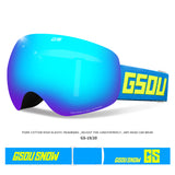Gsou Snow Ski Snowboard Goggles UV Protection Anti-fog Wide Spherical Lens