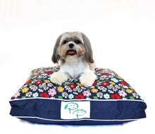 MODERN DESIGNER DOG BED - BLUE FLORAL - Pet Pouch