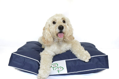 WATERPROOF DESIGNER DOG BED - NAVY - Pet Pouch