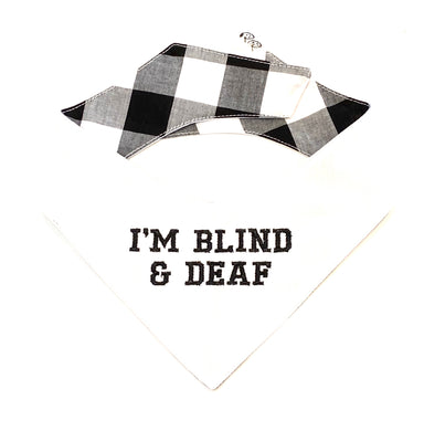 BLIND & DEAF WHITE - DOG BANDANA - Pet Pouch