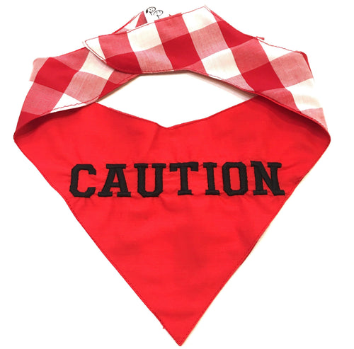 Red Caution Neckerchief - Pet Pouch