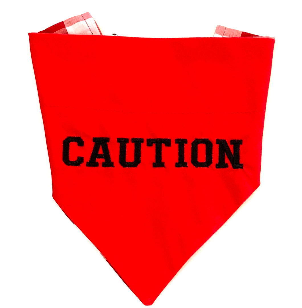 CAUTION RED - DOG BANDANA (OVER THE COLLAR) - Pet Pouch