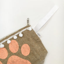 Hessian Clutch Bag - Pawprint - Pet Pouch