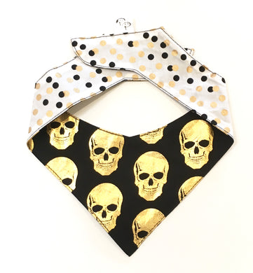 GOLD SKULL - DOG BANDANA
