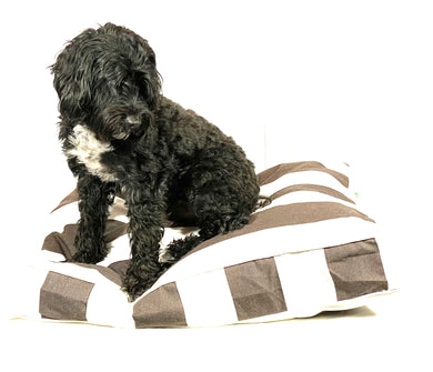THE HAMPTONS DESIGNER DOG BED - BROWN - Pet Pouch