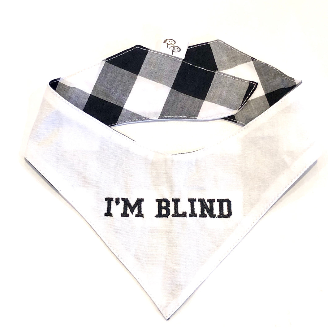 BLIND WHITE - DOG BANDANA - Pet Pouch