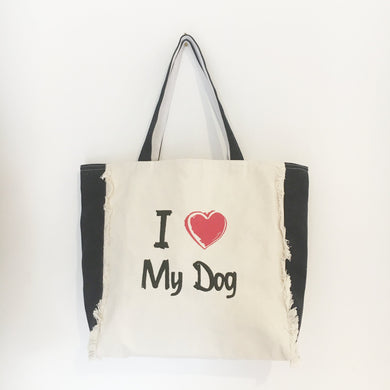 I LOVE MY DOG - FRINGED DENIM & DRILL TOTE BAG - Pet Pouch