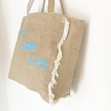LIVE, LOVE, LICK - FRINGED HESSIAN TOTE BAG - Pet Pouch