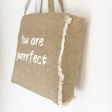 YOU ARE PURRRFECT - FRINGED HESSIAN TOTE BAG - Pet Pouch
