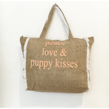 PEACE, LOVE & PUPPY KISSES - FRINGED HESSIAN TOTE BAG - Pet Pouch