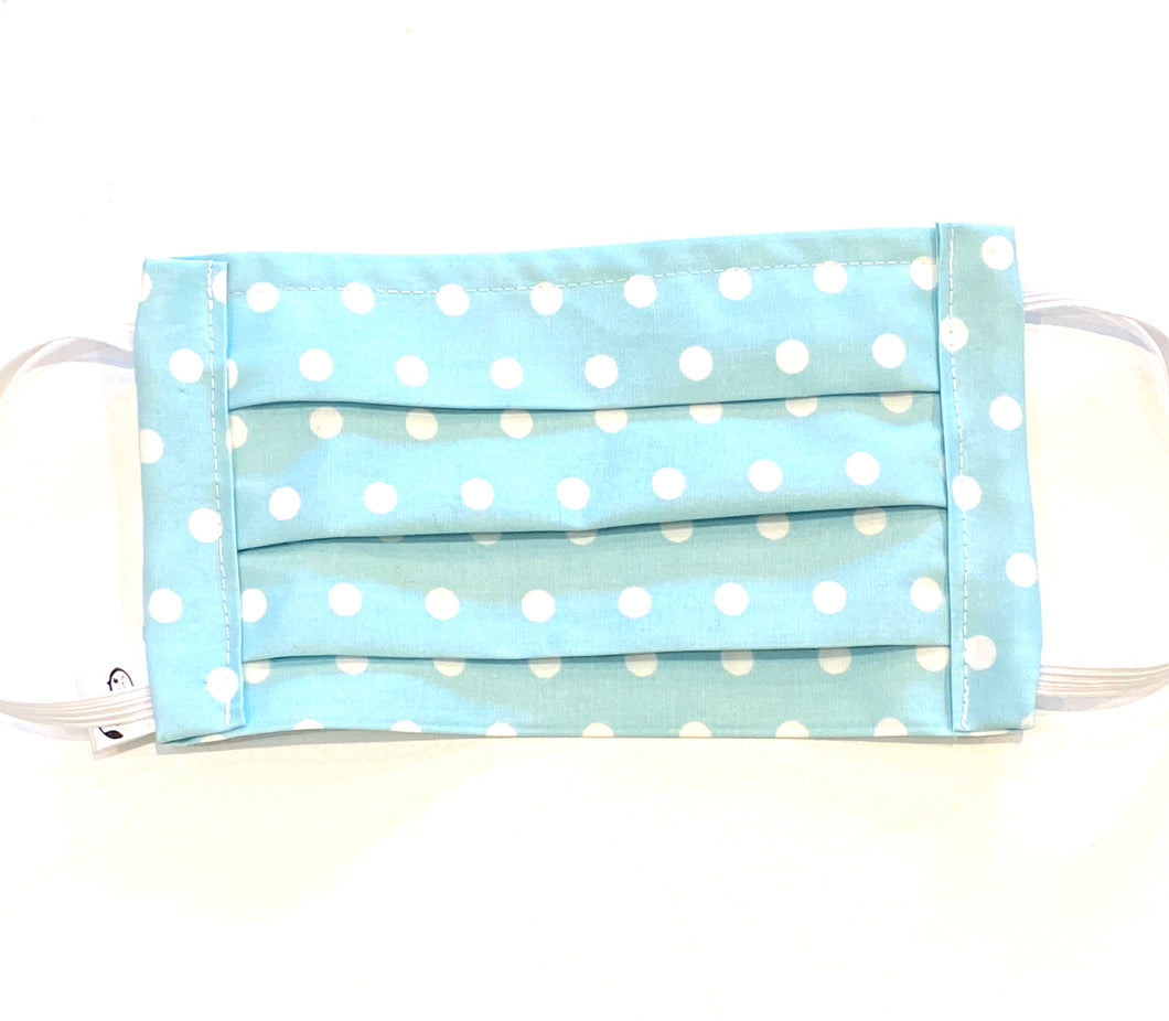 COTTON FACE MASK - PALE BLUE DOTTI