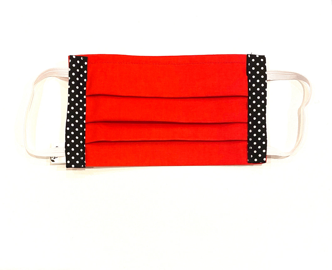 COTTON FACE MASK - RED WITH SPOTS - Pet Pouch