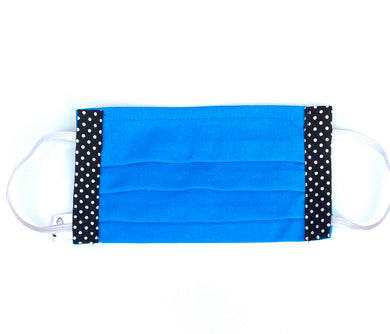 COTTON FACE MASK - AZURE BLUE WITH SPOTS - Pet Pouch