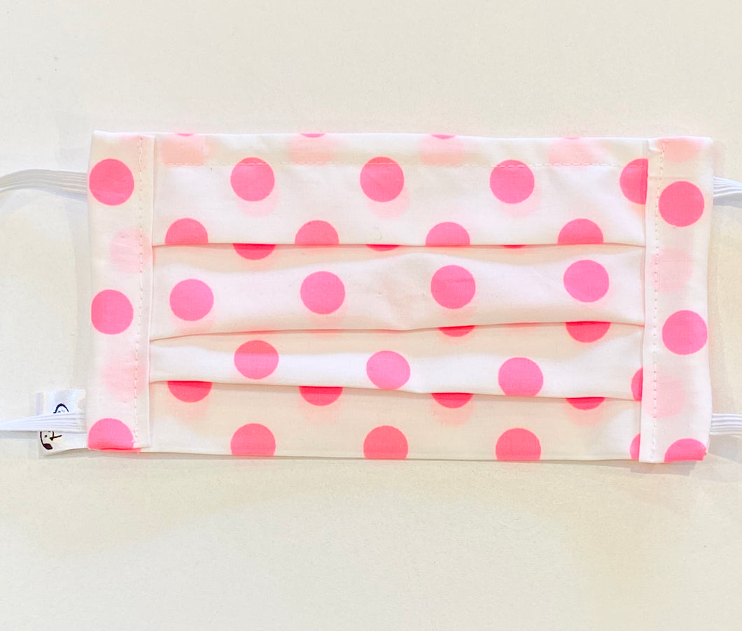 COTTON FACE MASK - FLUORO PINK DOTTI