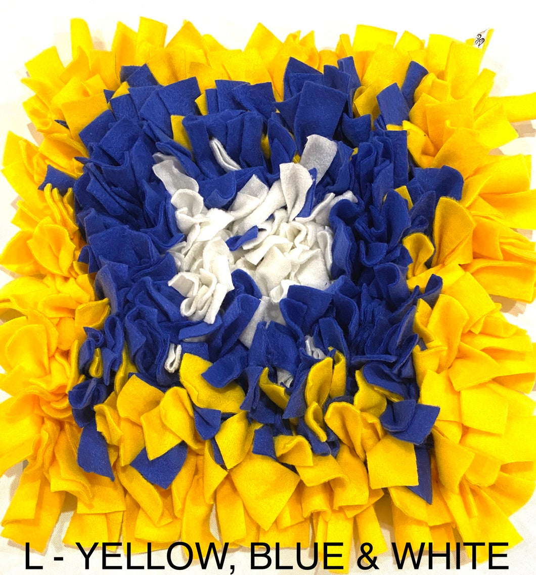 SNUFFLE MAT - INTERACTIVE DOG TOY (L - YELLOW, BLUE & WHITE) - Pet Pouch