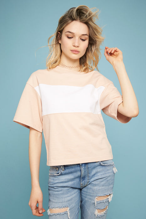 Flared sleeve T-shirt - Nude