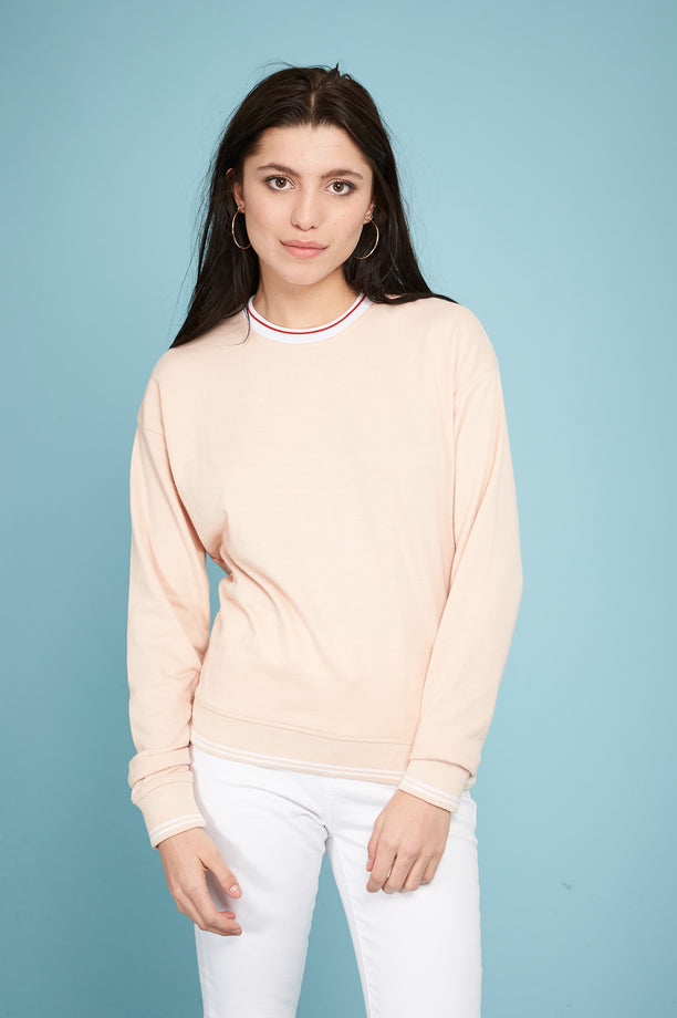 Ribbed Sweatshirt - Nude