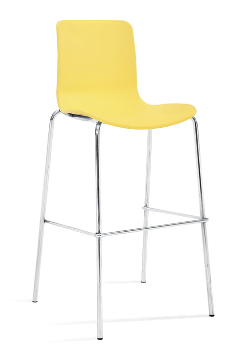 Acti Bar Stool 76cm High with 4 Leg Chrome Base - 10 Shell Colours
