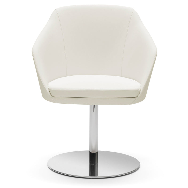 Annette Upholstered Tub Chair with Chrome Disc Base