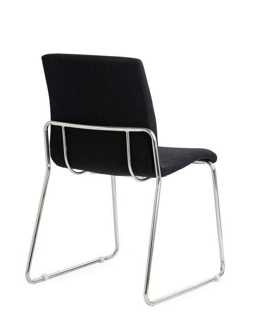 Design Upholstered Visitor Chair with Heavy Duty Chrome Sled Base