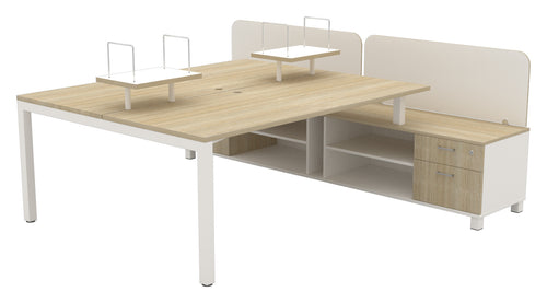 Cubit Desking with Built in Storage Caddy, Side Blade Screens and Centre Folder Shelf Units