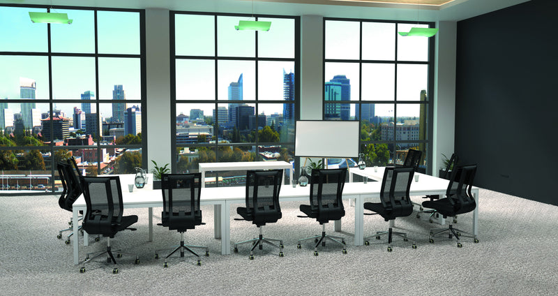 Cubit Meeting & Training Room Table White Steel Frame 1800x750mm