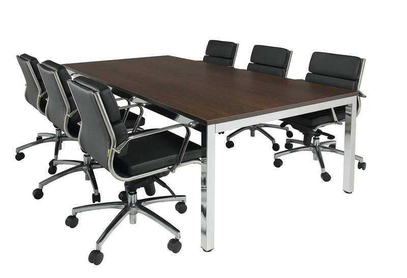 Cubit Boardroom Table with Chrome Frame | Various Sizes and Top Colours