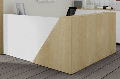 Mies Corner Reception Desk with 45 degree Detail