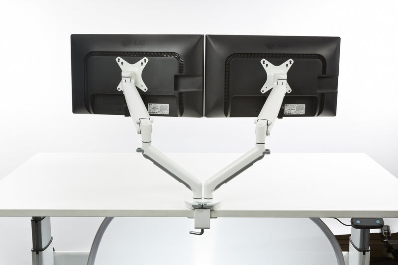 Neutral Buoyancy Double Monitor Arm White