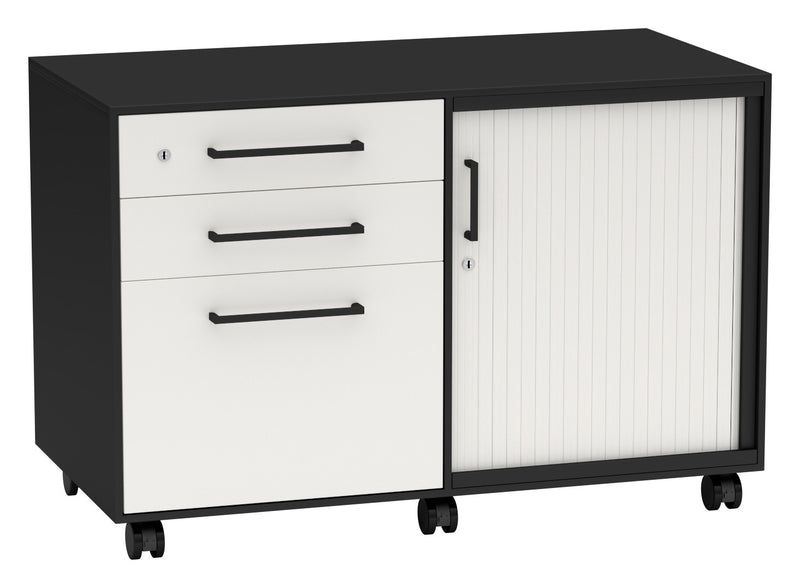 Nexus Storage - Caddy Unit With Lockable Drawers and Tambour Door