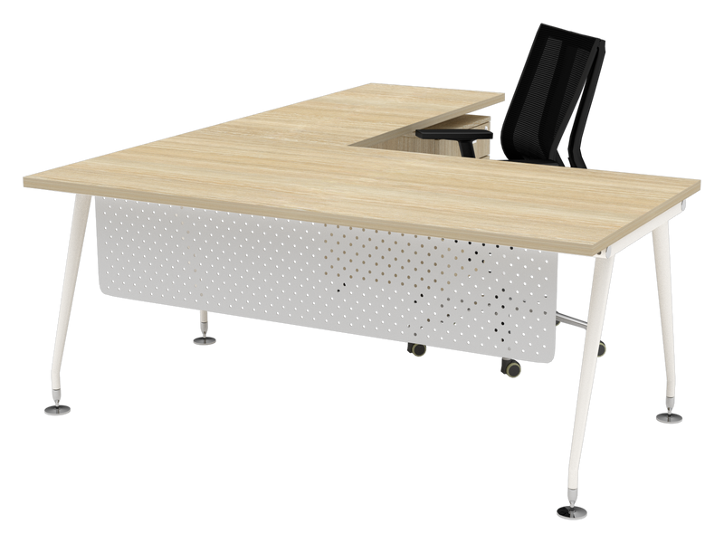 Origin White Executive Desk 1800x900 & Return900x600 with White Metal Modesty Panel