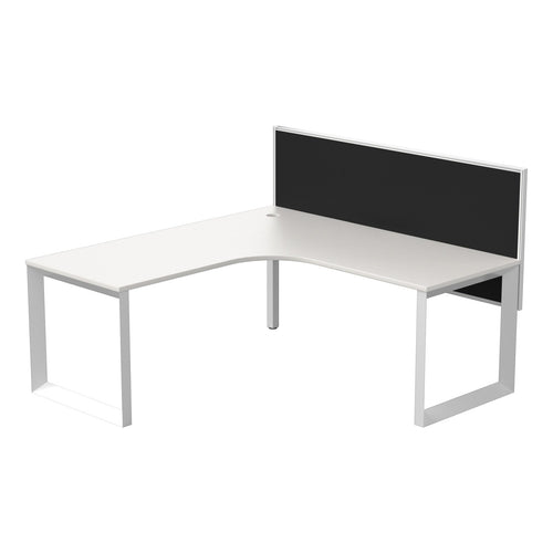 Quantum White Corner Workstation With Connect 30 Screen