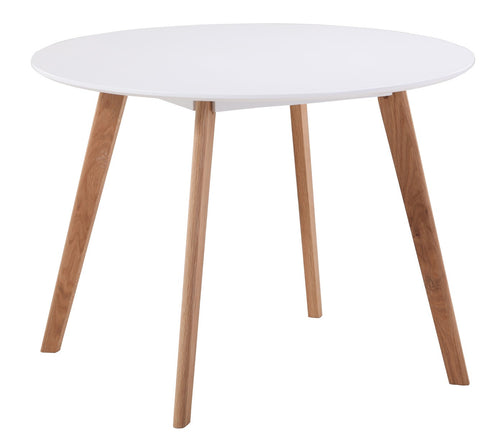 Acti Round Meeting Table 1000mm Diam. with White Melamine Top and Beech Legs