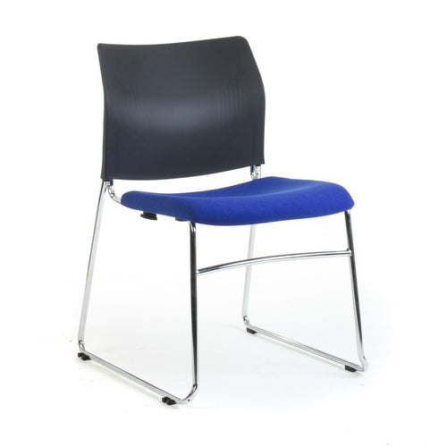 CS One Sled Base Chair with Black Poly Back and Upholstered Padded Seat