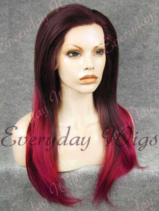 Ombre Rote Gerade Lange Synthetische Lace Front Perücken