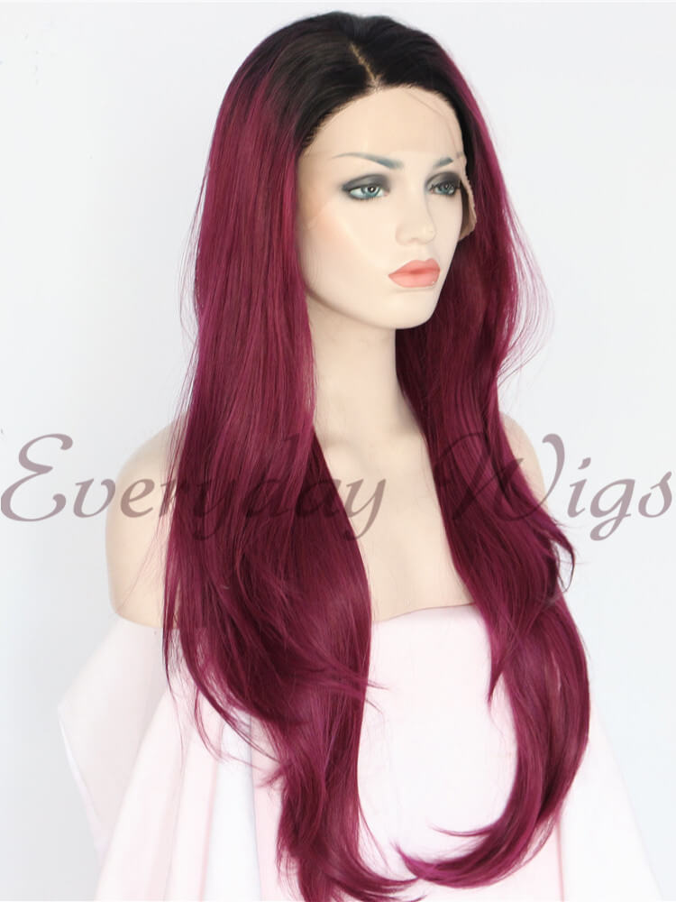 Lange Ombre Rote Gerade Synthetische Lace Front Perücken