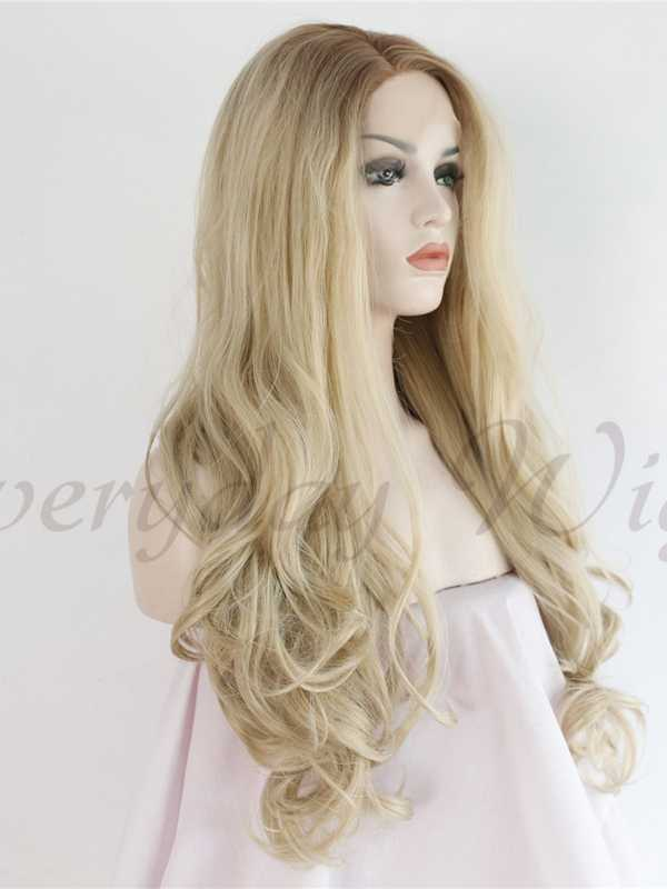 Lange Ombre Blond Wellige Synthetische Lace Front Perücken