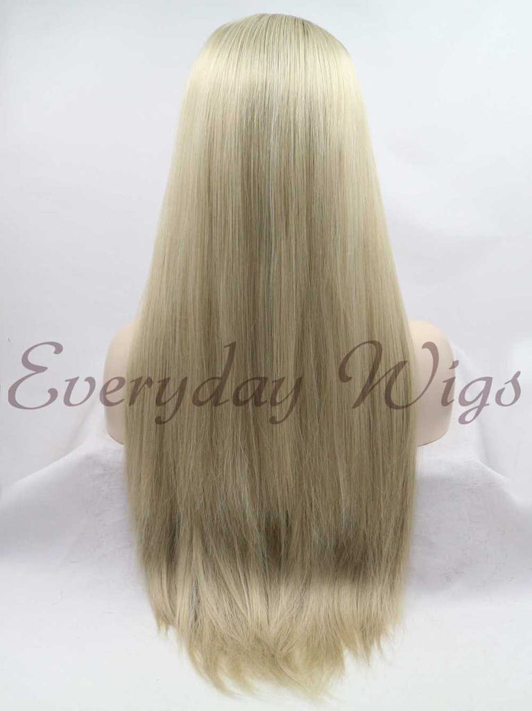 Lange Ombre Blond Gerade Synthetische Lace Front Perücken