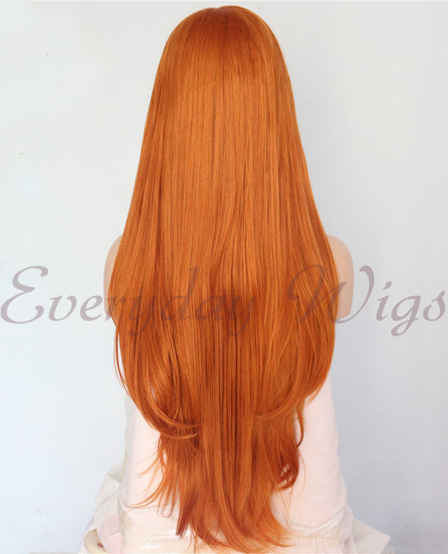 Lange Orange Wellige Synthetische Lace Front Perücken