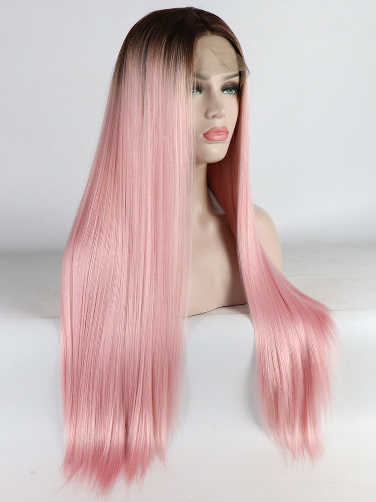 Lange Gerade Ombre Rosa Synthetische Lace Front Perücken
