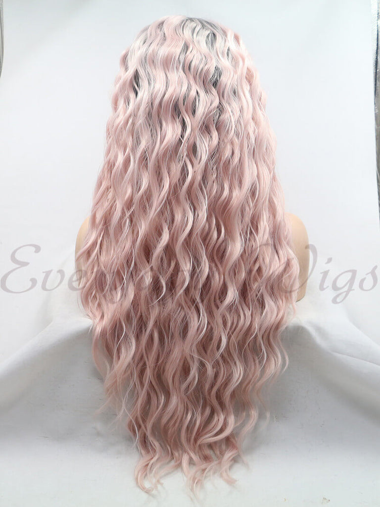 Lange Ombre Rosa Wellige Synthetische Lace Front Perücken