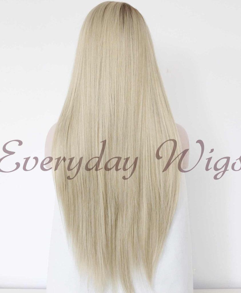 Ombre Blond Lange Gerade Synthetische Lace Front Perücken